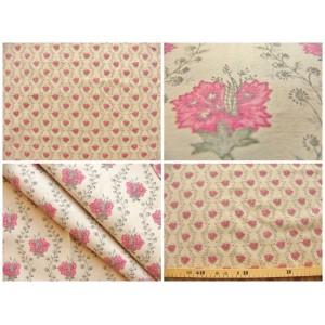tissu coupon / par 50cm : SUZA rouge fond beige