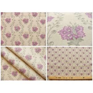 tissu coupon / par 50cm : SUZA violet fond beige