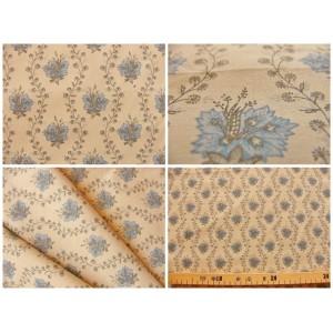 tissu coupon / par 50cm : SUZA bleu fond beige