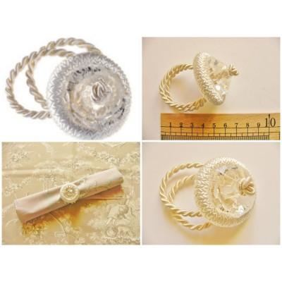 Rond de serviette avec perle transparente (ivoire)