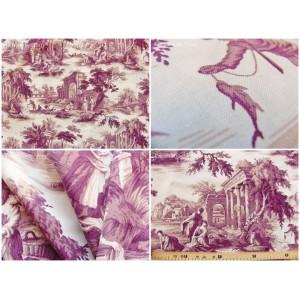 coupon tissu Toile de Jouy Toile de Jouy SCENES DE PECHE (mauve fd blanc)