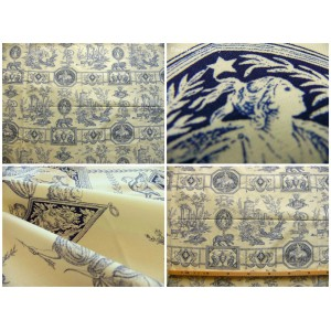 coupon tissu Toile de Jouy DIANE CHASSERESSE (bleu fond crème)