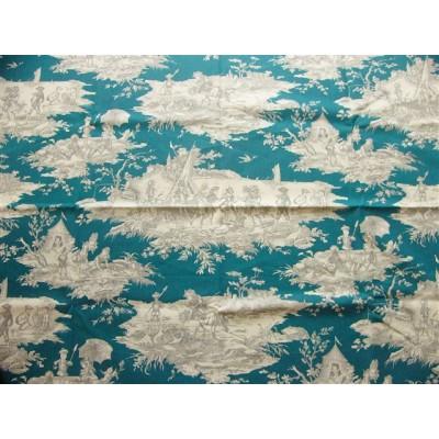 coupon tissu Toile de Jouy HISTOIRE D'EAU GRIS FOND BLEU CANARD