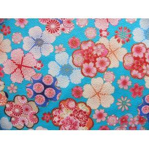 coupon tissu crêpe Chirimen Japonais 55x49cm sakura fleur aqua 58 [C-KANOKO]
