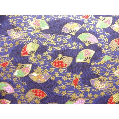 coupon tissu Japonais traditionnel 55x49cm fleuri doré fond encre 59