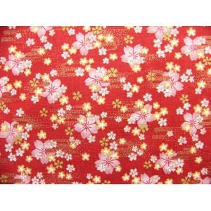coupon tissu Japonais 55x49cm petite sakura fleur doré rouge 60 [HOSHIZAKURA]