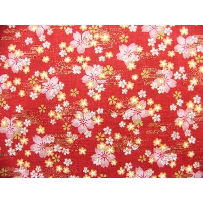coupon tissu Japonais traditionnel 55x49cm fleuri doré fond rouge 60