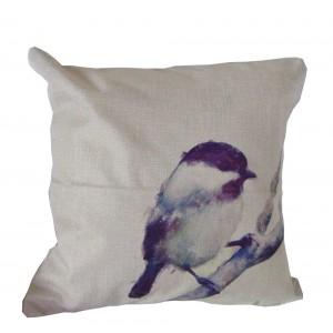 Housse de Coussin 45x45 oiseau violet sur la branche fond beige