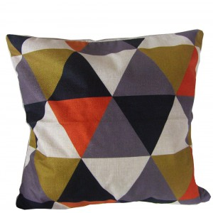 Housse de Coussin 45x45 triangles orange doré gris