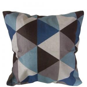 Housse de Coussin 45x45 triangles bleu gris