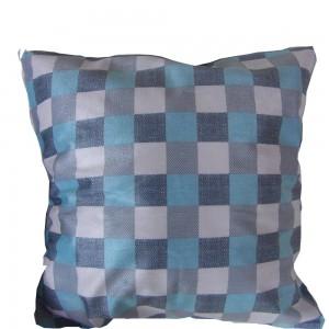 Housse de Coussin 45x45 damier bleu lagon