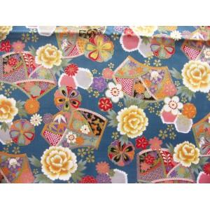 coupon tissu Japonais 55x49cm demi éventail fleur doré bleu paon 61 [IRODORI]