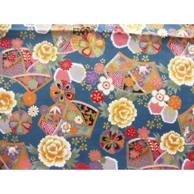 coupon tissu Japonais traditionnel 55x49cm fleuri doré fond bleu paon 61