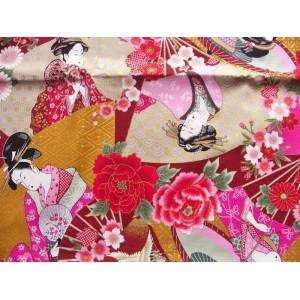 coupon tissu Japonais 55x49cm geisha éventail grue rouge moutarde 63 [UKIYOE]