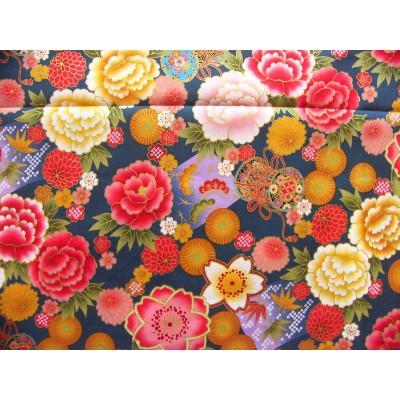 coupon tissu Japonais traditionnel 55x49cm fleuri tambour doré fond bleu paon 65
