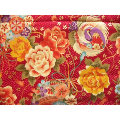 coupon tissu Japonais traditionnel 55x49cm fleuri doré fond rouge 66