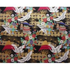 coupon tissu Japonais 55x49cm grue Fuji château fleur doré noir 67 [FUJITSURU]