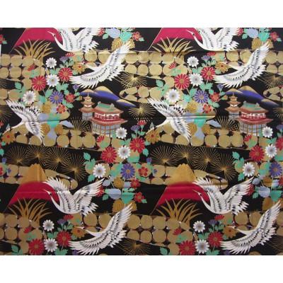 coupon tissu Japonais traditionnel 55x49cm grue fleuri doré fond noir 67