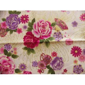 coupon tissu Japonais 55x49cm tambour éventail fleur doré ivoire 68 [SHIDARE]