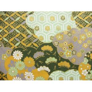 coupon tissu Japonais 55x49cm nuage fleur doré vert 72 [UNMON]