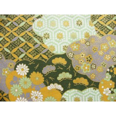 coupon tissu Japonais traditionnel 55x49cm fleuri doré fond vert 72