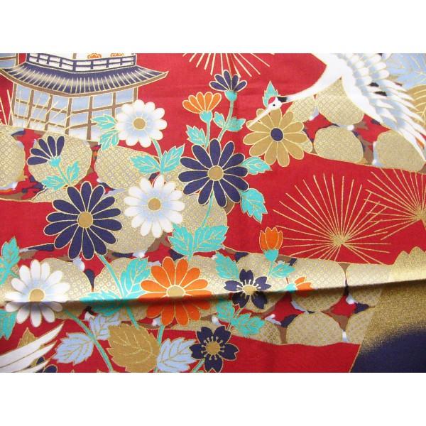 coupon tissu Japonais 55x49cm grue Fuji château fleur rouge 73 FUJITSURU