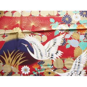 coupon tissu Japonais 55x49cm grue Fuji château fleur rouge 73 [FUJITSURU]
