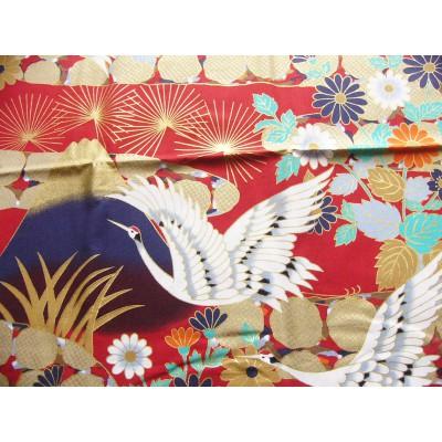 coupon tissu Japonais traditionnel 55x49cm grue fleuri doré fond rouge 72