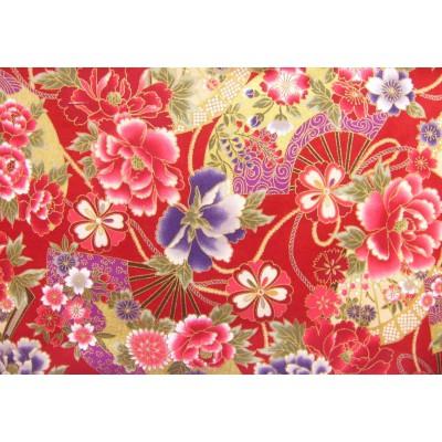 coupon tissu Japonais traditionnel 55x49cm fleuri doré fond rouge 75