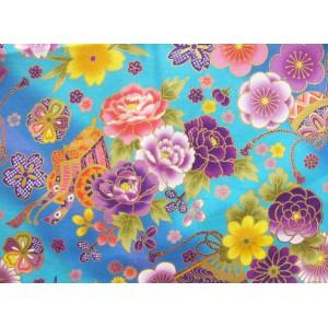coupon tissu Japonais traditionnel 55x49cm fleuri doré fond bleu 1