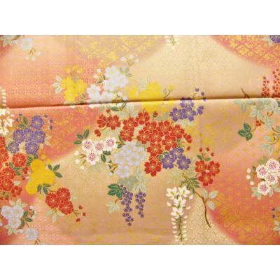 coupon tissu Japonais traditionnel 55x49cm fleuri doré fond rose beige 76