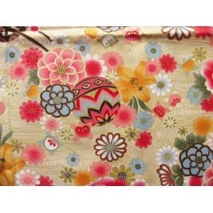 coupon tissu Japonais traditionnel 55x49cm chariot ballon fleuri dore fond creme 78