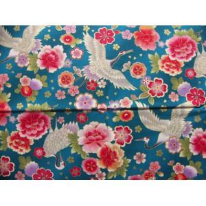 coupon tissu Japonais 55x49cm grue fleur doré bleu paon 81