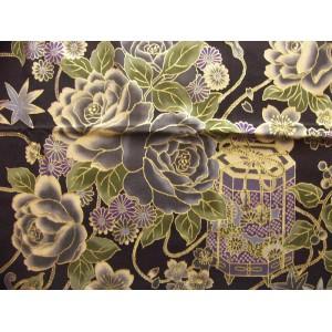 coupon tissu Japonais 55x49cm chariot boite fleur doré noir 82 [TAIKA]