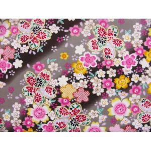 coupon tissu Japonais traditionnel 55x49cm sakura fleuri dore noir 83