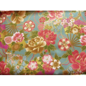 coupon tissu Japonais 55x49cm éventail fleur doré vert amande 84 [MIYABI]
