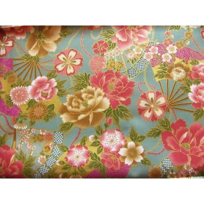 coupon tissu Japonais traditionnel 55x49cm eventail fleuri dore amande 84