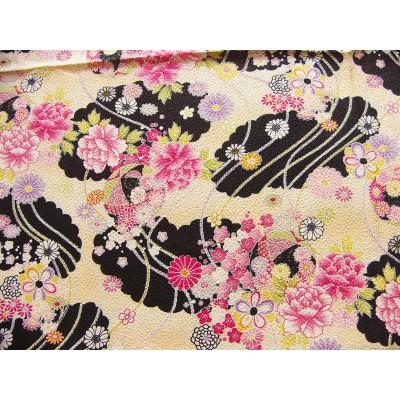 coupon tissu Chirimen Japonais traditionnel 55x49cm ballon fleuri dore noir 85