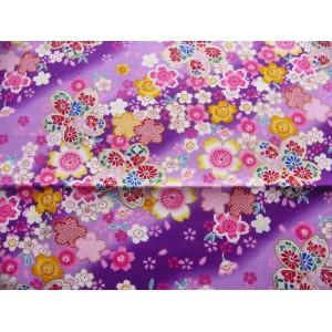 coupon tissu Japonais 55x49cm sakura fleur doré violet 89 [MANKAI]