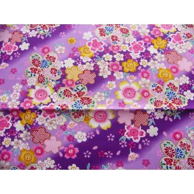 coupon tissu Japonais traditionnel 55x49cm sakura fleuri dore violet 89