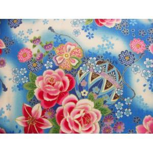 coupon tissu Japonais 55x49cm ballon boite fleur doré bleu 90 [MARIZOME]