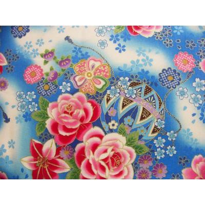 coupon tissu Japonais traditionnel 55x49cm ballon boite fleuri dore bleu 90