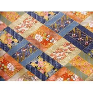 coupon tissu Japonais 55x49cm losange fleur doré bleu 91 [HANAKOUSHI]
