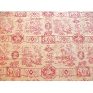 coupon tissu Toile de Jouy DIANE CHASSERESSE (rouge fond crème)