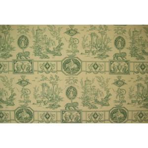 coupon tissu Toile de Jouy DIANE CHASSERESSE (vert fond crème)
