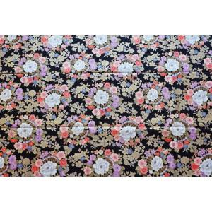 coupon tissu Japonais 55x49cm fleur doré noir 92 [RINBU]