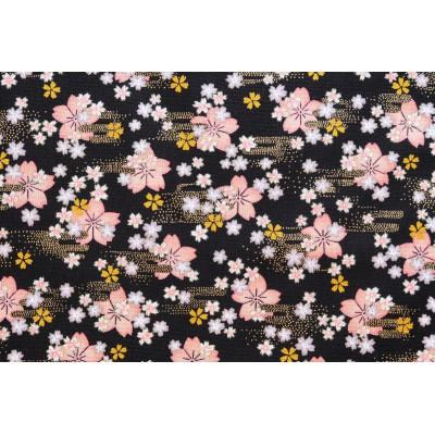 coupon tissu Japonais 55x49cm petite sakura fleur doré noir 95 [HOSHIZAKURA]