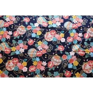 coupon tissu Japonais 55x49cm ballon fleur doré noir 96 [TEMARI]