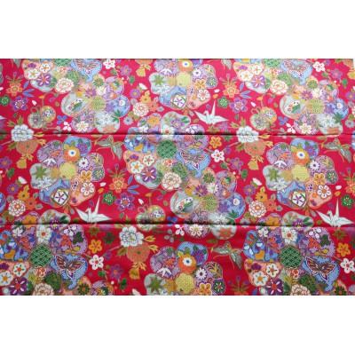 coupon tissu Japonais 55x49cm origami tambour fleur rouge 97 [HANAMODAN]