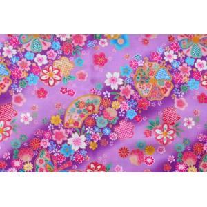 coupon tissu Japonais 55x49cm balon papillon fleur doré violet 98 [KINSAI]